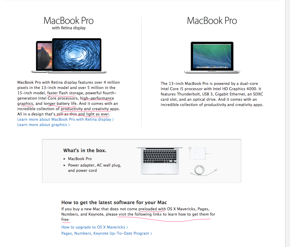 Macbook Pro copywriting