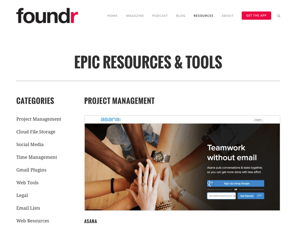Foundr magazine resource page